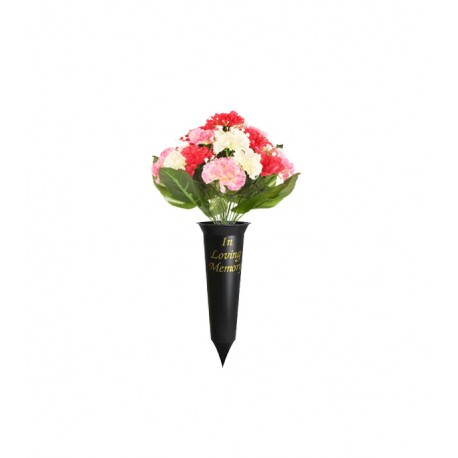 36cm Artificial Pink And White Carnation Gypsophila Grave Spike Pot