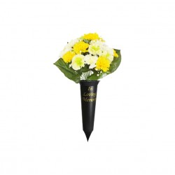 36cm Artificial Yellow And White Carnation Gypsophila Grave Spike Pot