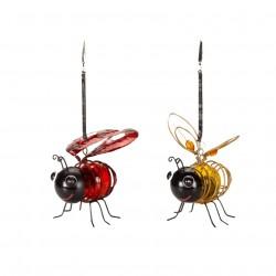Set Of 2 Smart Solar Bouncing Bee & Lady Bug Hanging Solar Powered Garden Light