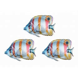 Set Of 3 Primus Butterfly Fish Colourful Metal Garden Wall Art