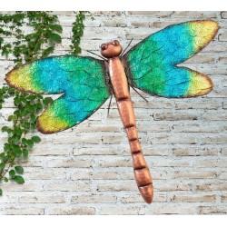 Creekwood Colourful Green Dragonfly Metal Garden Wall Art
