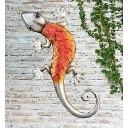 Creekwood Colourful Orange Gecko Metal Garden Wall Art