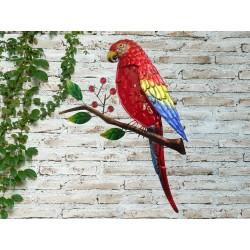 Creekwood Colourful Parrot Metal Glass Garden Wall Art