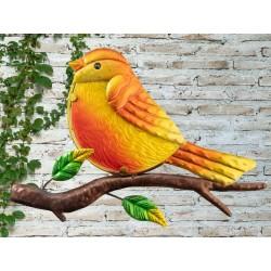 Creekwood Colourful Robin On Branch Metal Glass Garden Wall Art