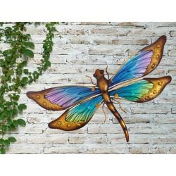 Creekwood Colourful Dragonfly Metal Glass Garden Wall Art