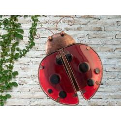 Creekwood Colourful Ladybird Metal Glass Garden Wall Art
