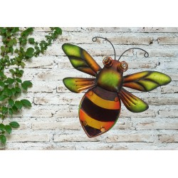 Creekwood Colourful Bumble Bee Metal Glass Garden Wall Art