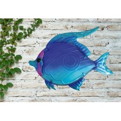 Creekwood Colourful Blue Fish Metal Glass Garden Wall Art