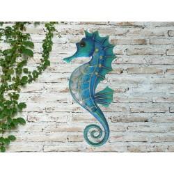 Creekwood Colourful Seahorse Metal Glass Garden Wall Art