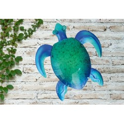 Creekwood Colourful Turtle Metal Glass Garden Wall Art