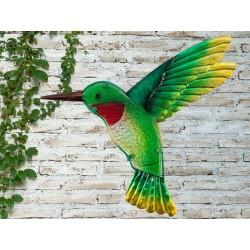 Creekwood Colourful Green Hummingbird Metal Glass Garden Wall Art