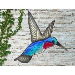 Creekwood Colourful Blue Hummingbird Metal Glass Garden Wall Art