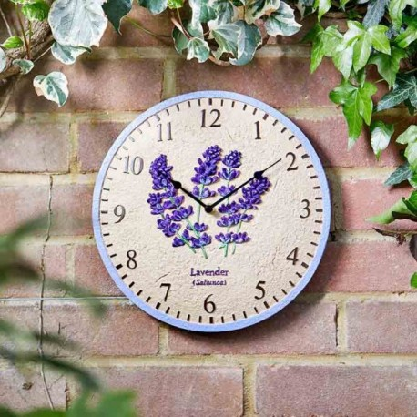 """lavender Clock 12"""" Detailed Garden Wall Clock And Thermometer Smart Garden"""