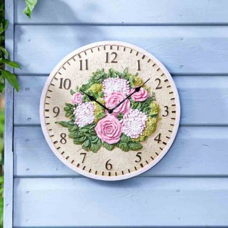 """Floral Clock 12"""" Detailed Garden Wall Clock And Thermometer Smart Garden"""