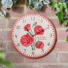 "Poppy Clock 12"" Detailed Garden Wall Clock And Thermometer Smart Garden"
