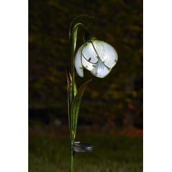 Snowdrop Solar Powered LED Light Hand Painted Glass Flower Garden Lighting