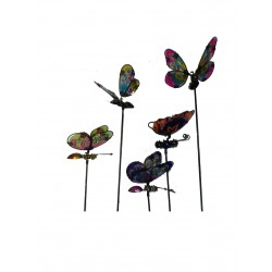 Set Of 5 Metal Garden Stake Ornament Butterflies