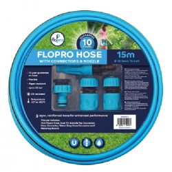 Flopro 100 Hose With Connectors & Nozzle Triple Layer Reinforced Hose 15m